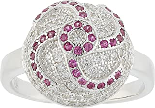Aurora Women's Silver Pink and White Ring