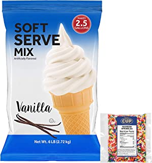 Clabber Girl Vanilla Soft Serve Ice Cream Mix 6 Pound with By The Cup Rainbow Sprinkles