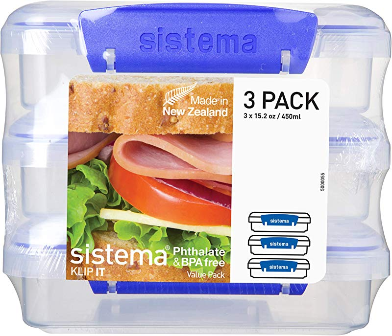 Sistema KLIP IT Collection Sandwich Box 1 9 Cup Compact Food Storage Container 3 Pack Clear Blue Great For Meal Prep BPA Free Reusable
