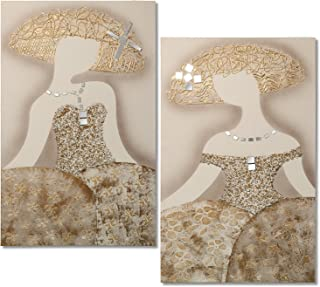 DRW Set de 2 Cuadros rectangulares de Madera con Unas Meninas con espejitos, Dorado,