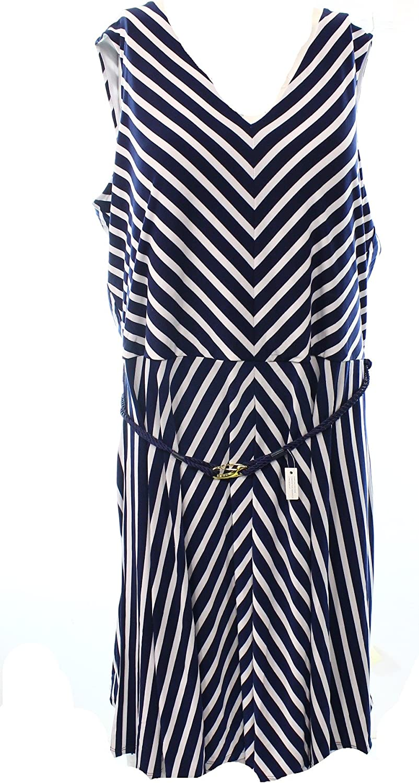 Ralph Lauren Women's Plus Sleeveless Striped Belted Dress
