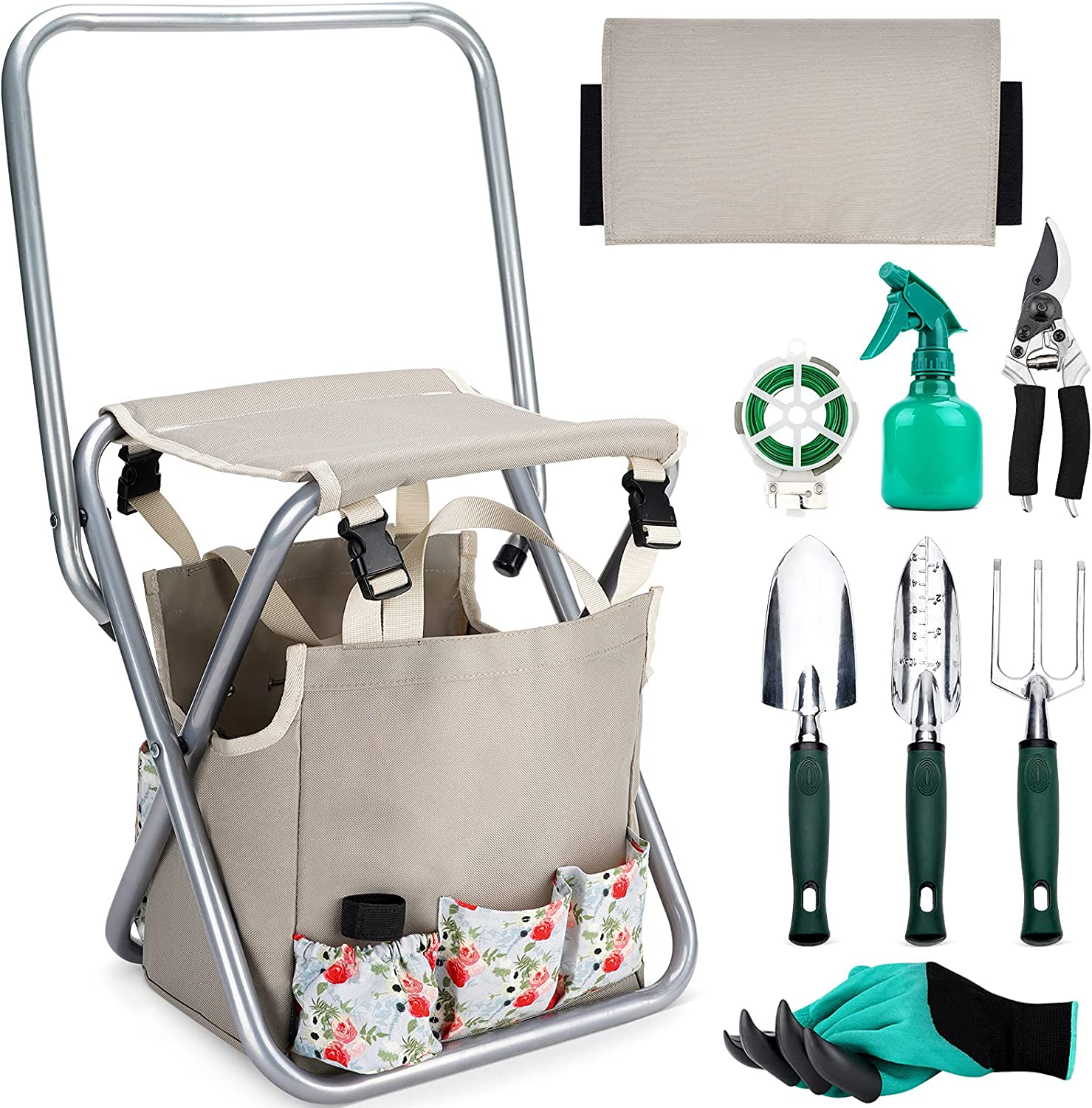 INNO STAGE 10 Piece Garden Hand Tools Set, Collapsible Gardening Stool Seat Kit with Backrest and Detachable Storage Tote Bag for Father Mother as Gift - Rose