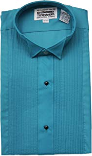 Men's Teal Blue Tuxedo Shirt Wing Tip 1/4 inch Pleats by