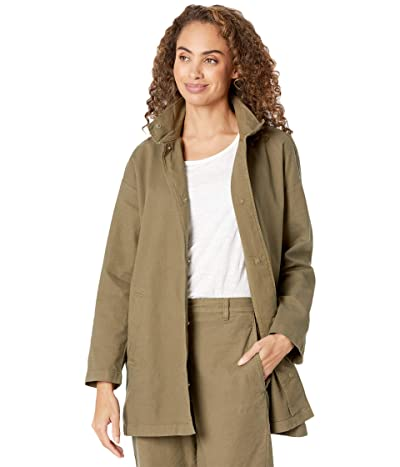 Eileen Fisher Organic Cotton Hemp Stretch Stand Collar Long Jacket (Olive) Women