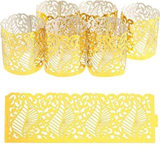 Creative-Idea 50Pcs Laser Hollow Paper Lampshade LED Electronic Candle Lights Around Paper Lace for Votive Centerpieces We...