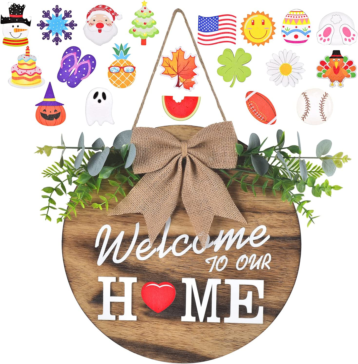 Interchangeable Welcome Home Sign, Seasonal Front Porch Door Decor With 21 Changeable Seasonal Icons for New Year/Christmas/Independence Day, Rustic Wood Wall Hanger for Housewarming Gift (12