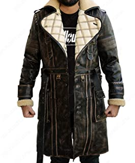 Mens Shearling Brown Distress Fur Real Leather Genuine Trench Coat Costume