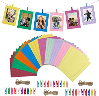 HONGXIN-SHOP Marco de Fotos de Papel de Bricolaje Decoración de La Pared del Hogar Fotos Álbum Colgante con Cuerda y Clip 30 Piezas 10 Colores