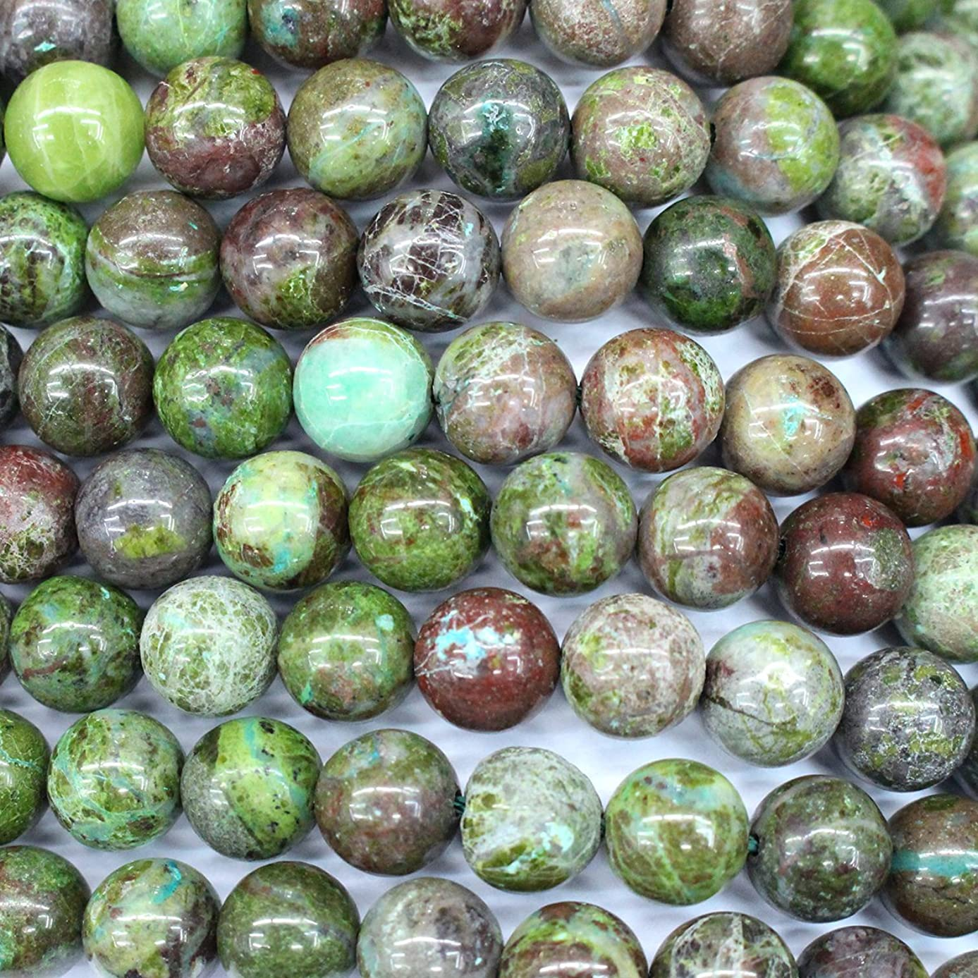 Natural Green rainforest Jasper Round Gemstone Beads for Jewerly Bracelet Making (8mm)