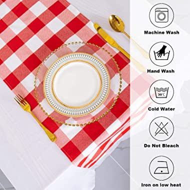 Buffalo Check Table Runner 13''x72'' Red and White Cotton Checkered Table Runner Buffalo Plaid Table Cover fo