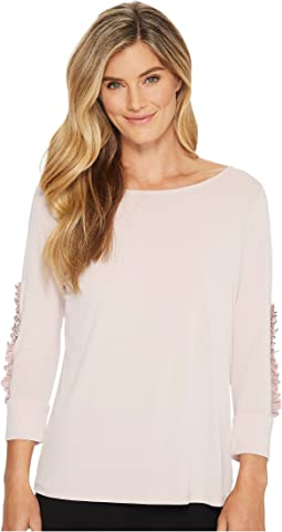 Ivanka Trump - Matte Jersey Long Ruffle Sleeve Shirt