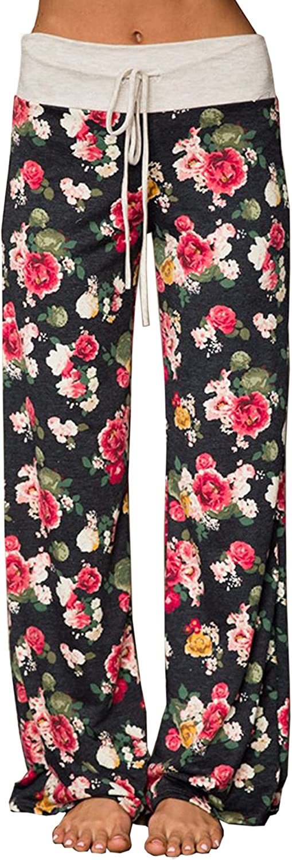 Hiblueco Women's Floral Printed Drawstring Leggings Wide Leg Pants High Waist Trouser