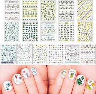 16 hojas Verano pegatinas para uñas Nail Art Stickers Plantilla Uñas Flor Frutal Hoja Estrella Hoja verde fruta océano Cal...