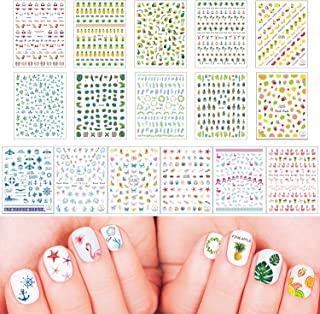 16 Sheets Summer Nail Art Stickers for Women Girls Kids Self-Adhesive 3D Nail Art Decals Fruits Flower Butterfly DIY Nail Tips Decorations