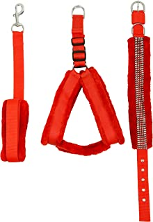Skora Nylon Fur 1.25-Inches Large Dog Harness, Collar and Leash (Red, Chest 28-34 Inches)