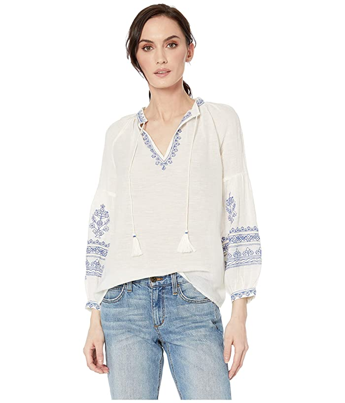 Lucky Brand  Embroidered Yoke Peasant Top (Natural Multi) Womens Blouse
