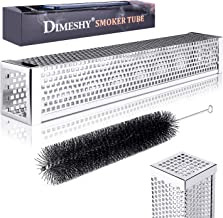 """DIMESHY Pellet Smoker Tube - 12"""" 304 Stainless Steel for Cold or Hot Smoking Wood Pellet Tube Smoker, Work with All Grills or Smokers, Bonus Storage Bag Include, Square"""