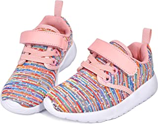 PTHANN Toddler Boy Shoes Girls Toddler Sneaker with Arch Support, Lightweight Breathable Walking Toddler Shoes, Athletic Toddler Tennis Shoes with Hook and Loop, Black Little Kids Sneakers