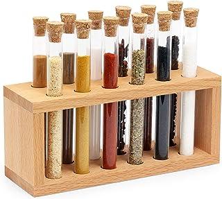 مجموعه ادویه جات ترشی جات Mammoth Design Chemistry | 12 لوله آزمایش شیشه ای با چوب پنبه چوب پنبه ای | سازمان دهنده چوبی گیاهان دارویی | ظروف آشپزخانه زیبا ، ظروف ادویه