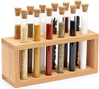 The Mammoth Design Chemist Spice,Tube Rack Organizer with Natural Cork Stoppers, Wooden Holder, Herb, Seasoning Container for Kitchen Countertop Tabletop (12 Tubes)