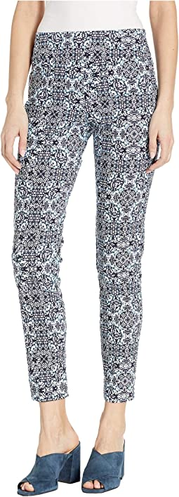Blue Moroccan Pull-On Ankle Pants with Back Slit