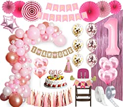 1st BIRTHDAY GIRL DECORATIONS| Balloon Arch Kit 1st Birthday Party Supplies| Rose Gold Party Decorations | Rose Gold Confe...