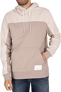 Calvin Klein Jeans Men's Fabric Blocking Pullover Hoodie, Grey, L