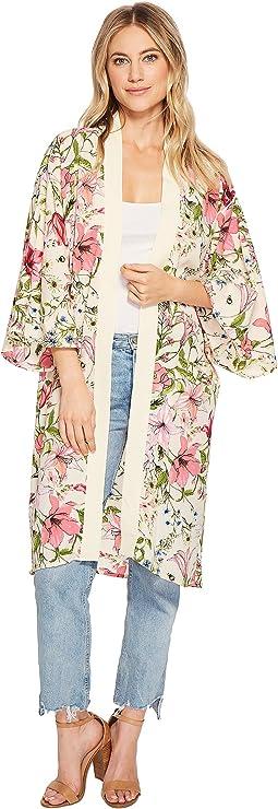 Delicate Floral Printed Kimono Duster