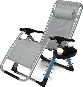 Zero Gravity Recliner Folding Lounge Chair Reclining Patio Chair Outdoor 350LBS Capacity with Cup Holder