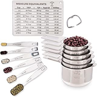 ​Stainless Steel Metal Metric Measuring Cups and Spoons Set with Kitchen Conversion Chart Magnet. 12 Piece Sturdy Stackable Measure Set for Measuring Dry and Liquid Ingredients.