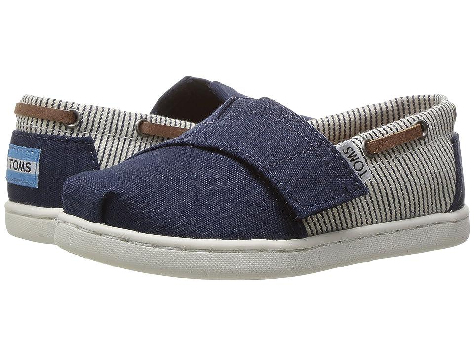 TOMS Kids Bimini (Infant/Toddler/Little Kid) (Navy Canvas/Stripes) Kids Shoes