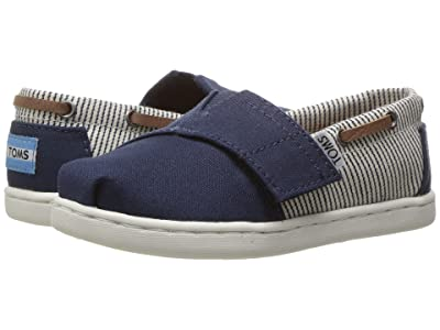 TOMS Kids Bimini (Infant/Toddler/Little Kid) (Navy Canvas/Stripes) Kids Shoes