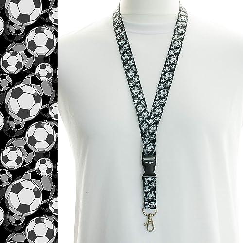 Rolseley Cordon tour de cou pour porte-badges avec clip en métal 1 ballon de football noir.