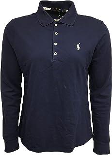 Polo Ralph Lauren Men's Long Sleeve Polo Shirt Cotton/Elastane Blend Tailored Fit 281805 Navy (Large)