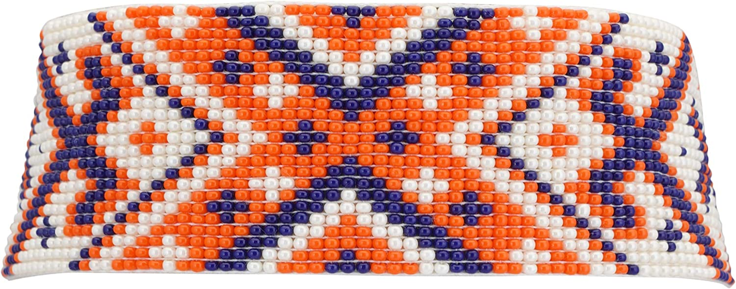 El Allure Navy Blue, Orange and Off White Seed Bead Native American Seed Beaded Choker Patterned Handmade Personalized Delicate Costume Fashion Unique Partywear Choker Handicraft Necklace for Women