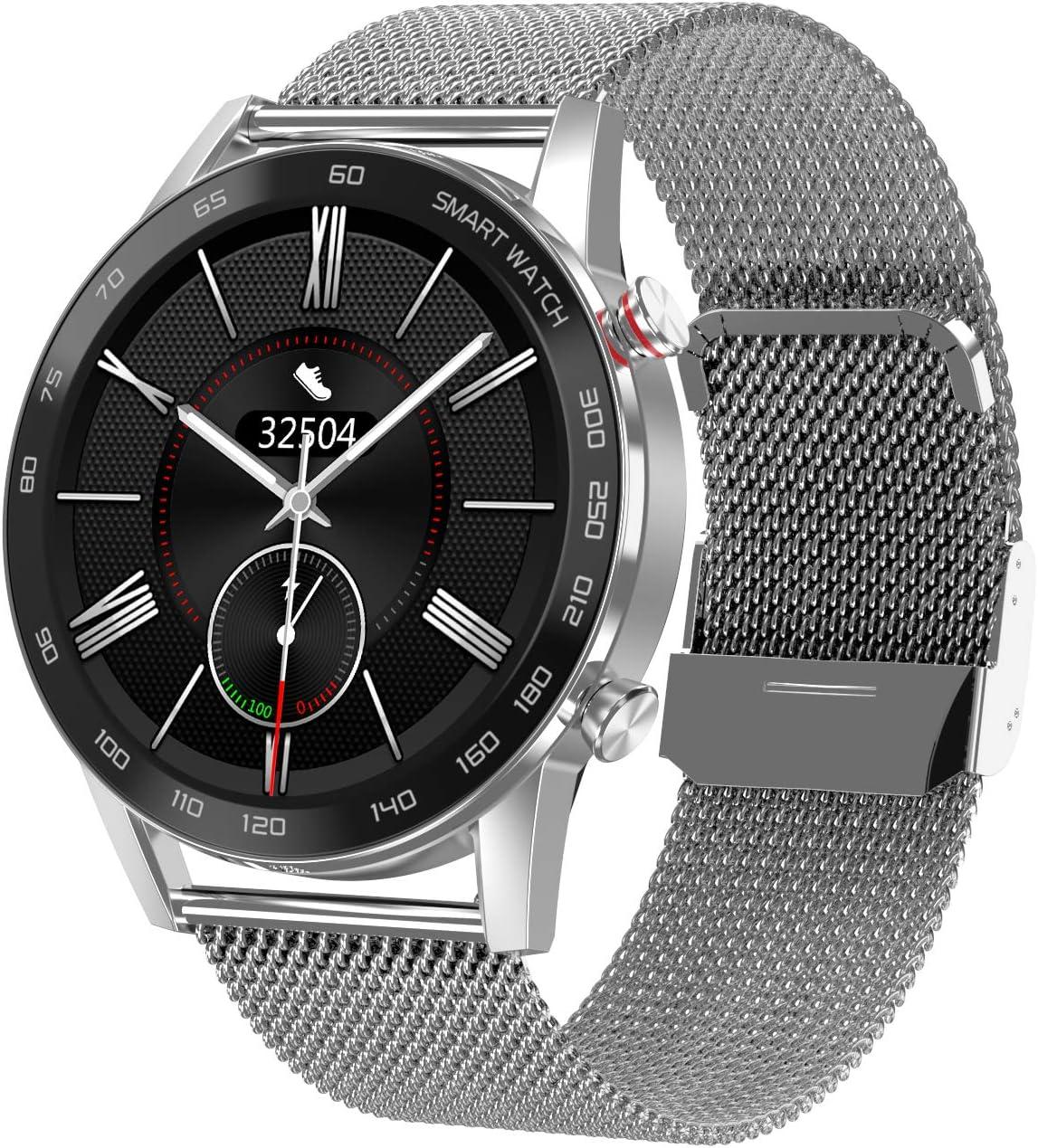 WT2 Smartwatch, Reloj Inteligente con, Monitor del Sueño, Pulsómetro, Impermeable Cronometro Monitor de Actividad y Presión Arterial Compatible Android iOS (Plata (Metal))