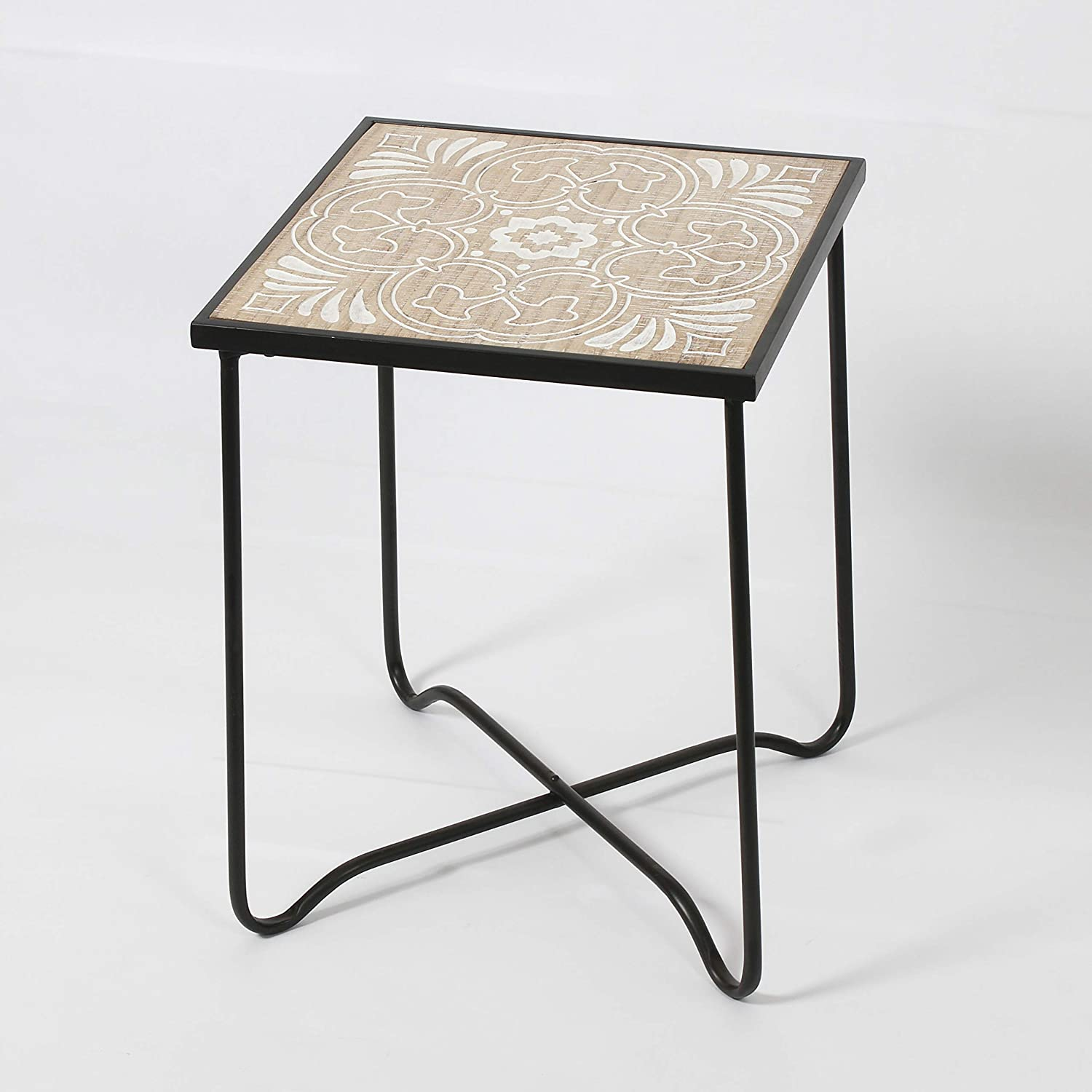 RHArt - Floral Pattern Square END Table, Country Vintage Farm Side Table, END Table, Coffee Table, NIGHTSTAND Display and Storage for Home, CONDO, Living Room, Bedroom Decor and Furniture