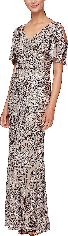 1920s Style Dresses, 20s Dresses Alex Evenings Womens Long Sequin Dress with Flutter Sleeves  AT vintagedancer.com
