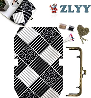 """DIY Kiss-Lock Coin Purses Handmade Supplies Kit, 7.2"""" x 2.5"""" / 18.2cm x 6.1cm Black and White Striped Pattern Style Kiss-Lock Change Coin Pouch Clasp Closure Wallet, 1 Kit"""