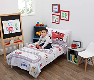 Everything Kids Road Trip 4 Piece Toddler Bed Set - Quilt, Fitted Bottom Sheet, Flat Top Sheet, Standard Size Pillowcase, ...