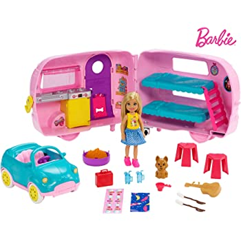 Barbie Club Chelsea Camper Playset with Chelsea Doll, Puppy, Car, Camper, Firepit, Guitar and 10 Accessories, Gift for 3 to 7 Year Olds