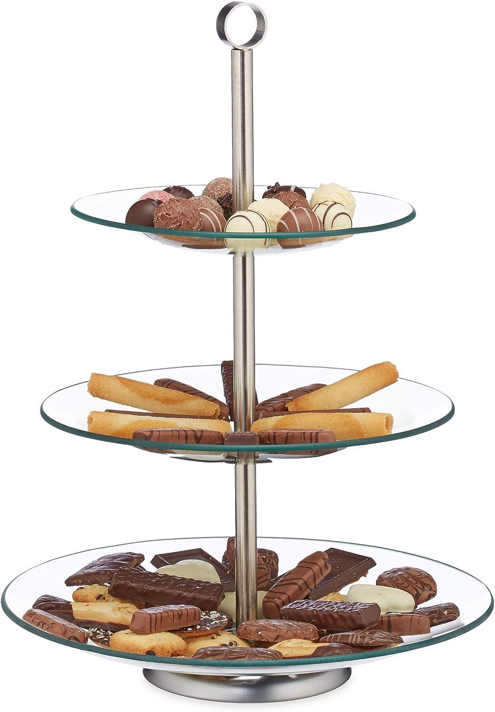 Relaxdays Soporte para Tartas, Cupcakes y Fruta de 3 Pisos, Cristal-acero, Plateado-transparente, 40 x 29,5 cm