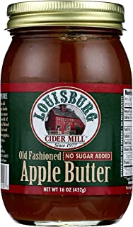 Louisburg Cider Mill, Preserve Apple Butter No Sugar Added, 16 Ounce