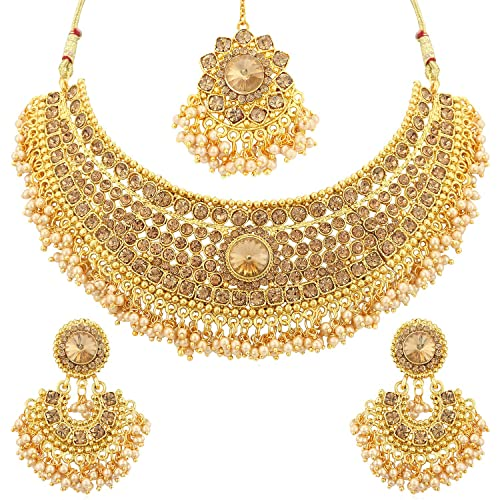 Buy Sukkhi Traditional Pearl Gold Plated Wedding Jewellery LCT Stone Choker  Necklace Set For Women (N72392ADHT112017) Online at Low Prices in India    Amazon Jewellery Store - Amazon.in