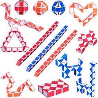Boao 18 Pack 24 Blocks Magic Snake Cubes Twist Puzzle Toys Mini Snakes Speed Cubes for Kids Party Bag Fillers Party Supplies, Random Colors