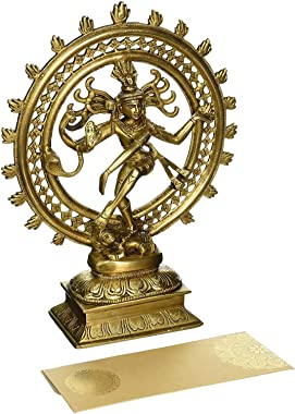 "Hindu God Deity Shiva Dancing Nataraja Natraj Brass Statue Sculpture for Home Decor Temple Mandir 6"""