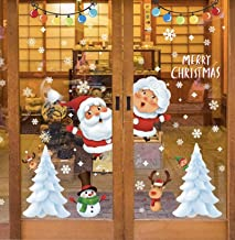 Christmas Window Stickers,Santa Snowflake Sled DIY Wall Décor Removable Self-Adhesive Wall Mural Decals Sticker Clings Xma...