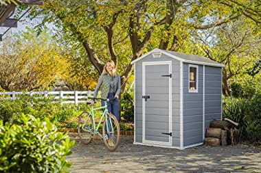 KETER Manor 4x6 Resin Outdoor Storage Shed Kit-Perfect to Store Patio Furniture, Garden Tools Bike Accessories, Beach Chairs