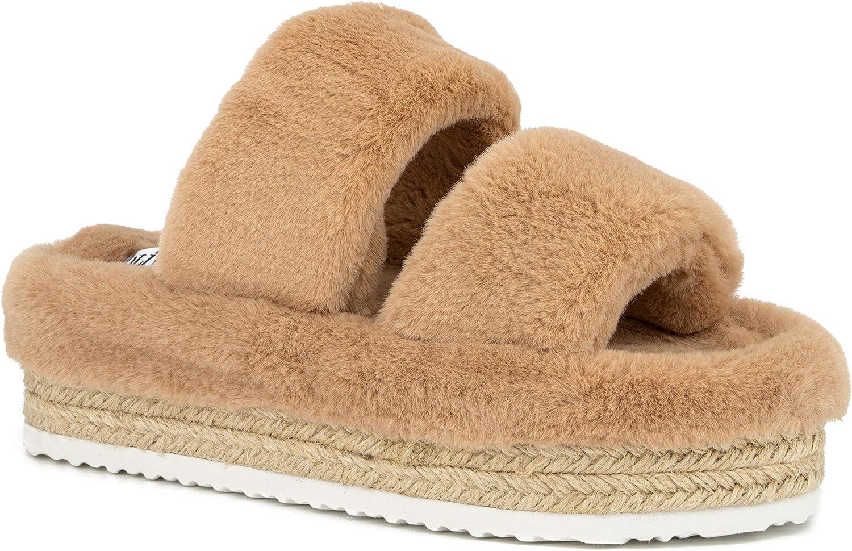 Olivia Miller Women's Shoes, Ortona Faux Fur Slides Slippers Dual Toe Strap Espadrille Slide On Platform Sandals