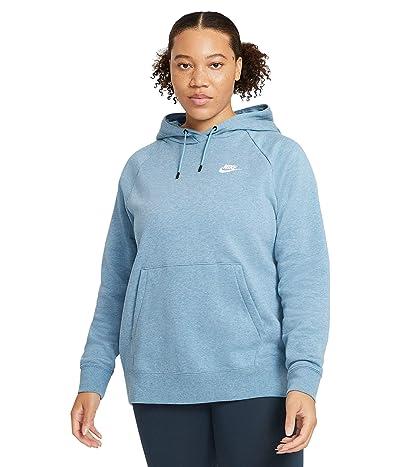 Nike Plus Size NSW Essential Hoodie Pullover Fleece (Cerulean/Heather/White) Women